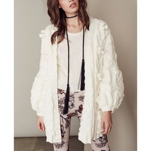 For love and lemons braided cable cardigan cream