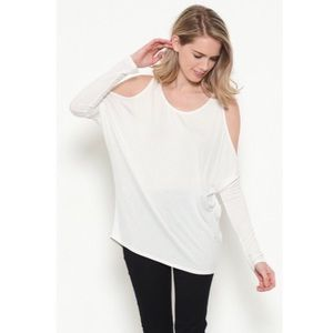 Tops - Ivory fitted sleeve cold shoulder top