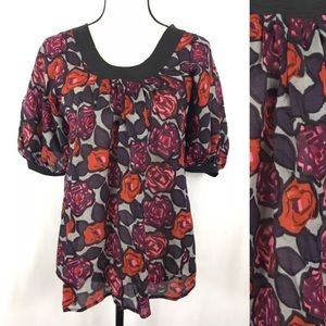 {PLENTY TRACY REESE} Floral Top Blouse Plum Rose