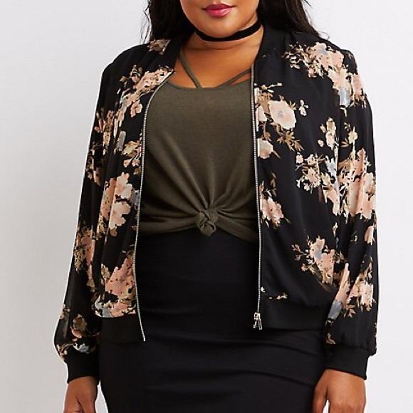 b29231c63e275 Charlotte Russe Jackets   Blazers - Plus Size Floral Bomber Jacket
