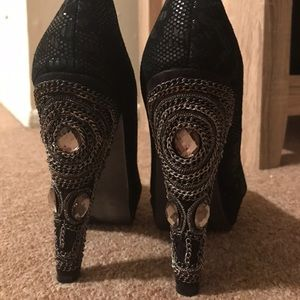 Jewel and chain embellished platform heels
