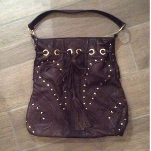 Bulga Bag Large Size Leather Drawstring Gold Studs