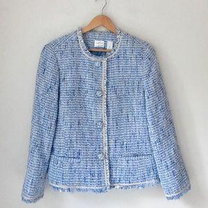 Emma James Blue Boucle Tweed Fringe Jacket Size 14