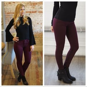 Denim - Dark burgundy butt lifting skinny mid-rise jeans