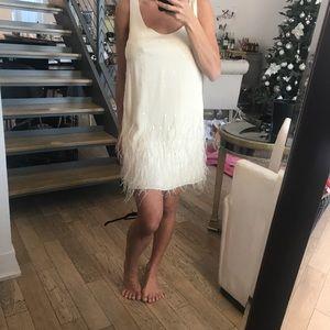 Catherine malandrino shift dress with feathers