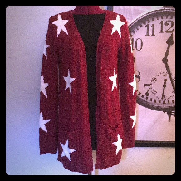 Charming Charlie Sweaters - Maroon and White Stars Cardigan