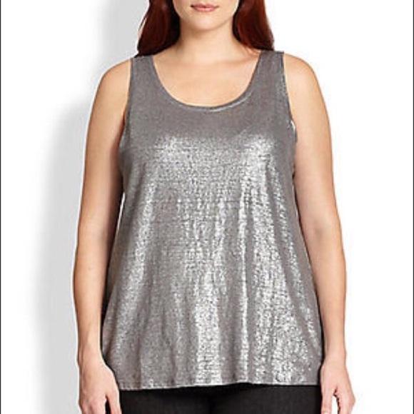 ca1daaa4b7d Eileen Fisher Plus Size Metallic Silver Tank Top