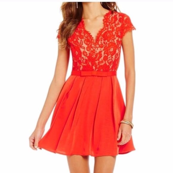 58671557512 Gianni Bini Dresses   Skirts - Gianni Bini Red Lace Dress
