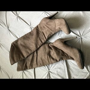 CHINESE LAUNDRY taupe suede OTK high low boots