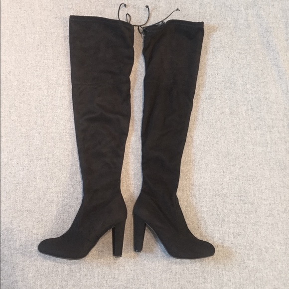 6cee4affb2d Thigh high Black Faux-Suede Heeled Boots