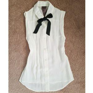 Black tie neck blouse