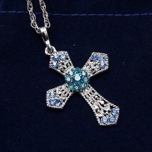 Jewelry - Rhinestone blue cross silver necklace new