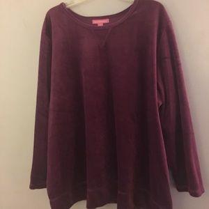 Cozy Velour long sleeve plus size top lovey Purple