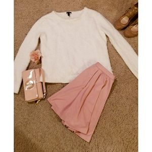 Ivory Jessica Simpson Feather Cropped Sweater