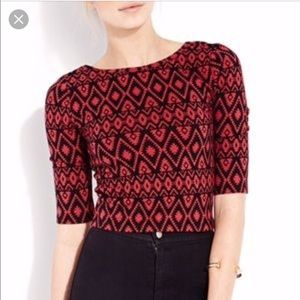 Forever 21 Red Aztec Print Crop Top Large