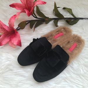 Catherine Malandrino Furrow Fur Lined Velvet Mules
