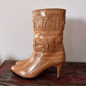 Gorgeous Vintage 80s Eel Skin Mid Calf Boots 6