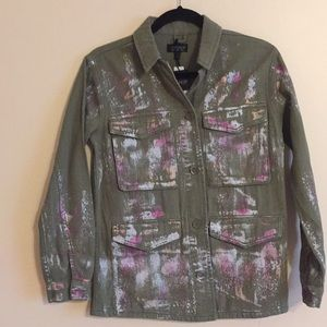 eaf475f7 Topshop Jackets & Coats | Olive Green With Sparkles Jacket | Poshmark