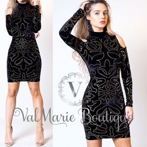Velvet Foil Gold Metallic Dot Dress