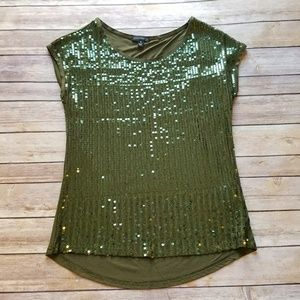 Willi Smith green sequin sparkly holiday top Small