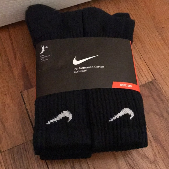 6 Pack Men's Nike Crew Socks (Size 8-12)