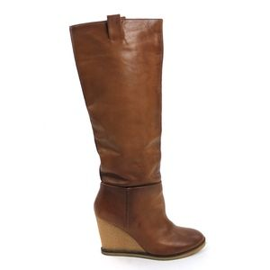 Zara Womens Fall Winter Wedge Leather Boots