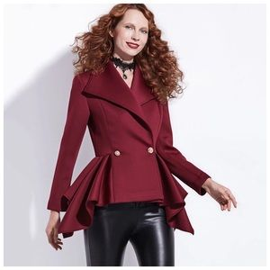 Jackets & Blazers - Burgundy Wine Asymmetrical Peplum Jacket