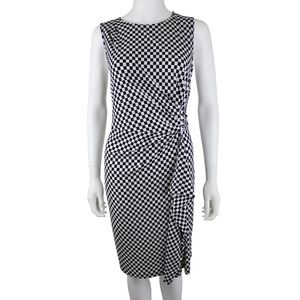 Michael Kors Checkered Black White Stretch Dress