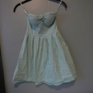 Pastel green strapless dress