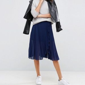 ASOS Wrap Front Midi Skirt With Wrap Front Detail