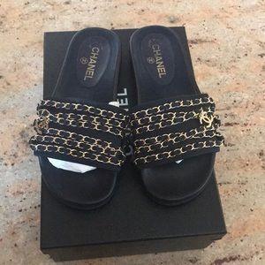 Chanel Tropiconic Slide Sandals- Navy Blue