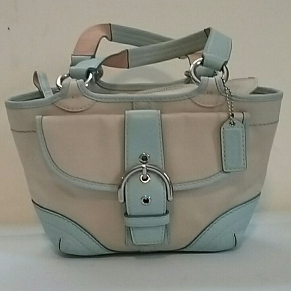 5a75c764d681f Coach Handbags - Coach Small Baby Blue   Beige Satchel
