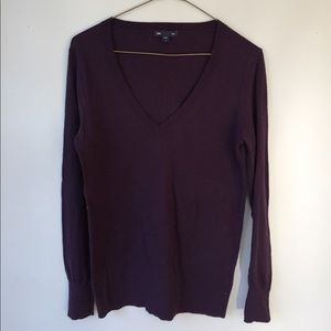 Classic Dark Purple V Neck Sweater
