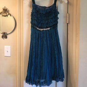 Crinkle, Ruffles w/ Velvet & bead Dress Teal Blue