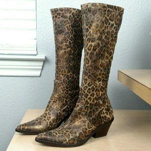 Donald J Pliner leopard stretch suede cowboy boots