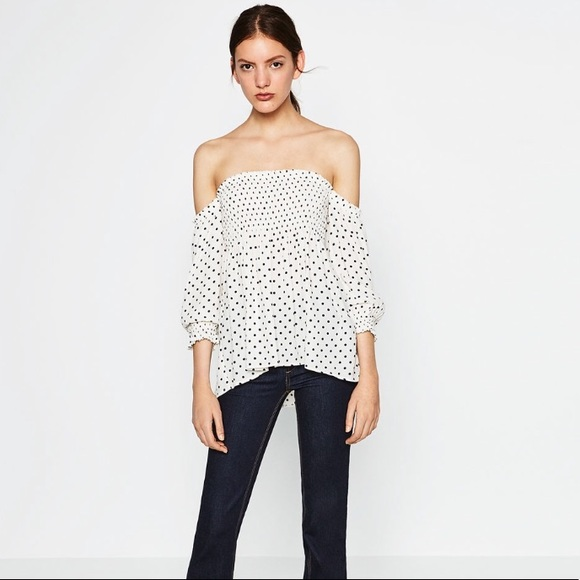 a69afca94ec Zara Tops | Nwt Polka Dot Off Shoulder Top Size Sm | Poshmark