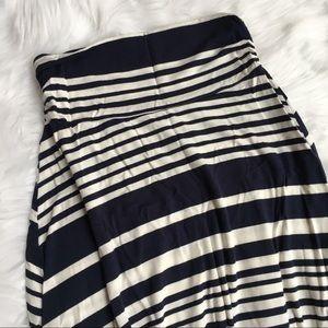 Renee C Navy/White Stripe Maxi Skirt