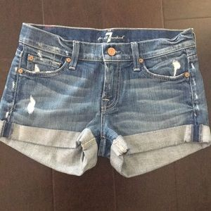7 For All Mankind Distressed Roll Up Denim Shorts