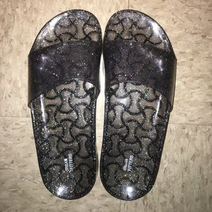 Women's Urban Outfitters Black Sparkly Slides
