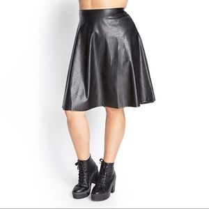 Forever 21 Plus Faux Leather A-Line Skirt