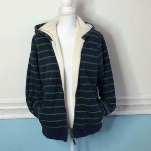 LL Bean Super Soft Fleece Striped ZipUp Sweatshirt