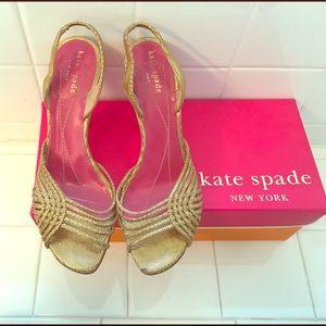 Kate Spade Metallic Gold Sandals Size 6.5
