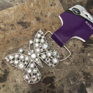 Silver Butterfly Rhinestone Belt Buckle! NWT!