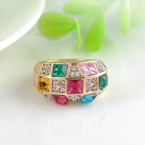 Jewelry - Multi-Color Crystal Gold Fashion Band Ring