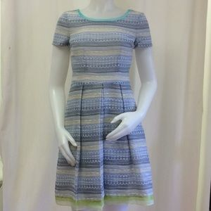 Elie Tahari  Blue and White/Green Babydoll Dress
