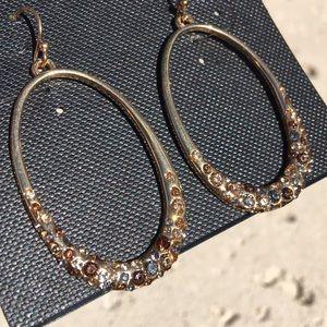 NWT COOKIE LEE Genuine Crystal Hoop Drop Earrings