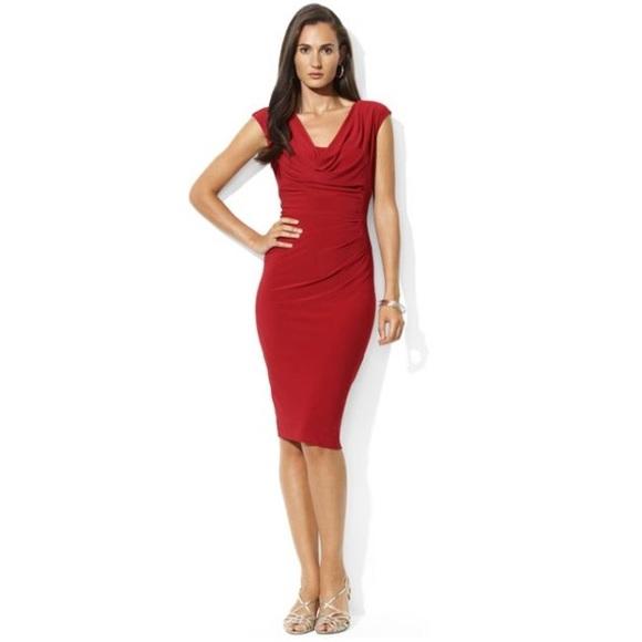 b0a8fb42d7 Lauren Ralph Lauren Cowl Neck Jersey Red Dress NWT