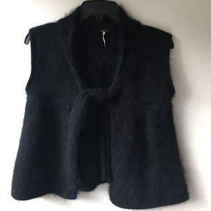 NWOT Free People sleeveless vest angora black sz S