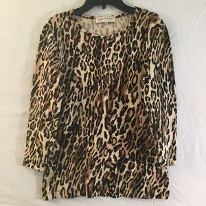 Jones New York Sport Leopard Print 3/4 Sleeve Top