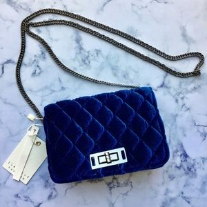 0a88846893221 Bags - Dark Navy Blue Velvet Quilted Crossbody Bag NWT